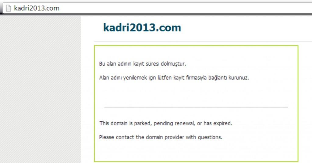 Kadri Fellahoğlu'nun projelerini ilan ettiği resmi sitesi www.kadri2013.com an itibarıyla bu durumda!